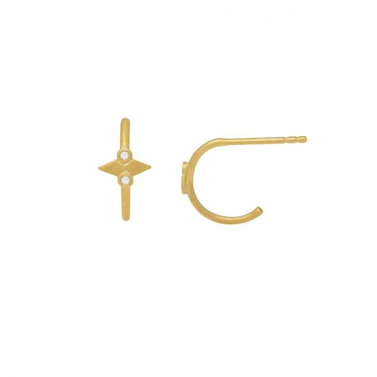 Petit Speer w/ Zircons Creol Earrings Gold