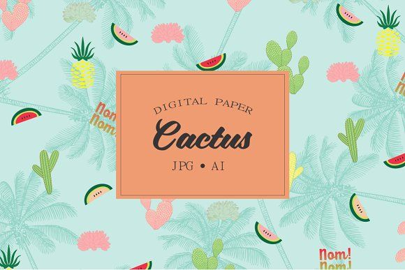 Cactus patterns, succulents by Kiwi Fruit Punch on @creativemarket