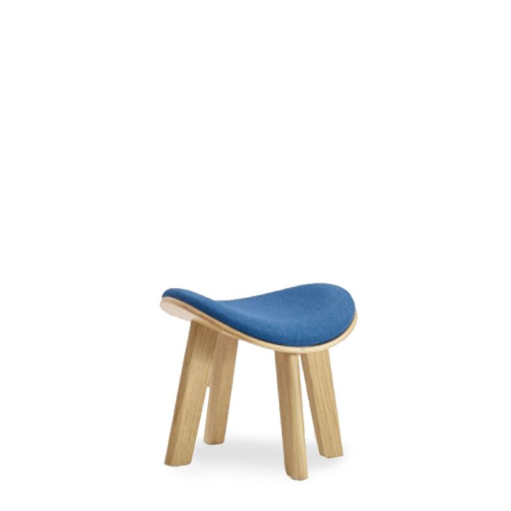 U-Dub upholstered small stool with plywood seating