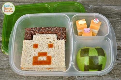MineCraft bento school lunch in EasyLunchboxes. Charlie would eat his entire lunch every day if I did this. I love it!