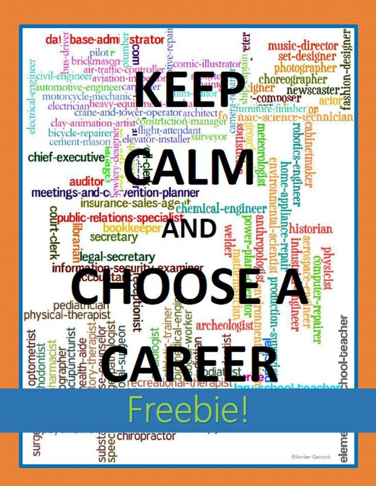 Career Cluster Lesson Poster Keep Calm and Choose a