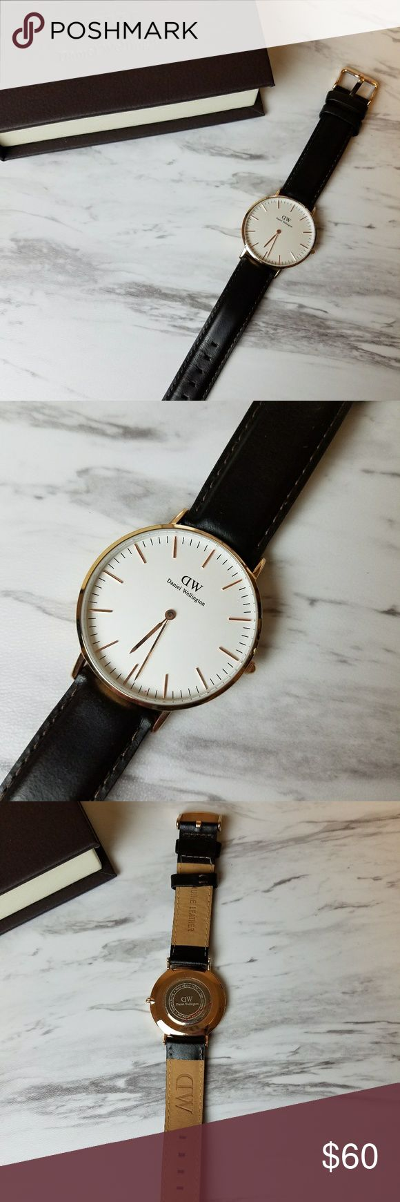 Daniel Wellington watch Gorgeous watch! Hardly worn.  Wicked dark brown band and rose gold. Accessories Watches