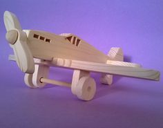 """Toy airplanes wooden airplane for kids in solid pinewood model """" Spitfire """" (…"""