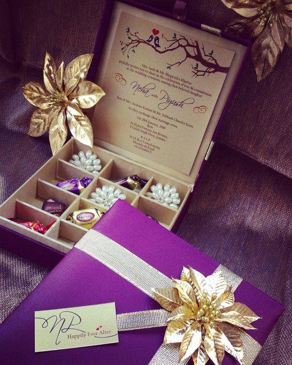 Chocolate Box Gift Box Wedding Invitation Box Etsy In 2020 Box Wedding Invitations Indian Wedding Invitations Wedding Cards