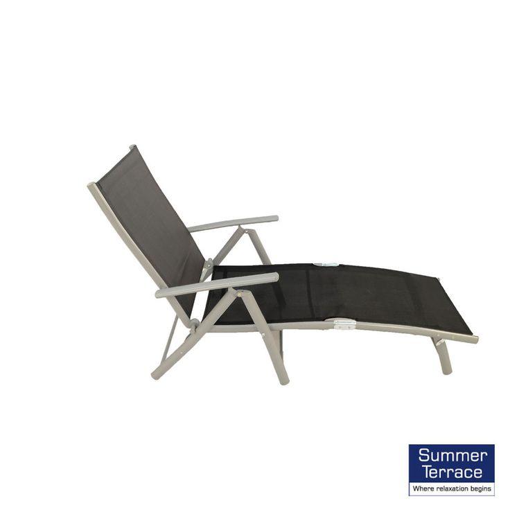 Folding Sun Loungers Chairs Garden Seat Metal Furniture Outdoor Beach Black