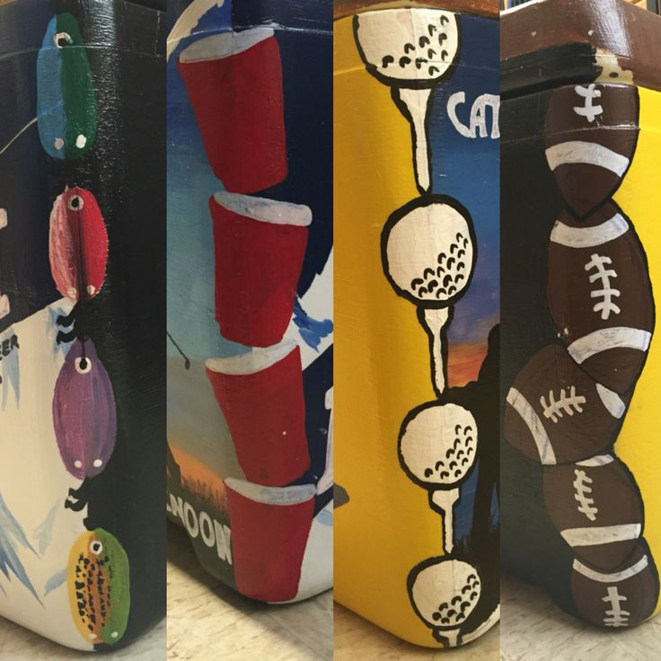 fishing luers, red solo cup, golf tee, and football corner on painted cooler !!!