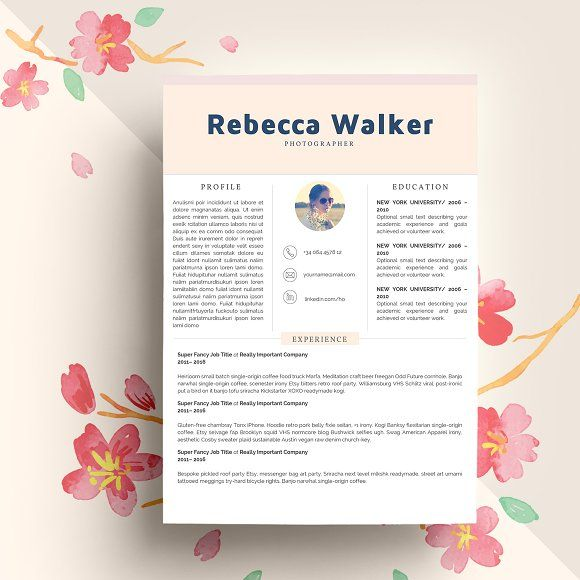 Creative Feminime Resume Template by Indograph on @Graphicsauthor