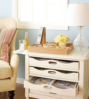Storage: Decor Rooms, Dreams Houses, Side Tables, Magazines Storage, Storage Organizations, End Tables, Great Ideas, Magazines Racks Side, Living Rooms Tables