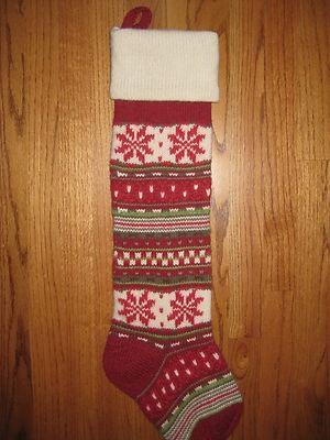 Pottery Barn Fair Isle Knit Snowflake Christmas Stocking