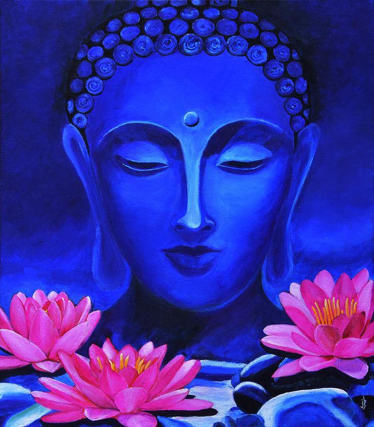 Buddha Painting - Buddha And Lotus Flowers by Jasmine Bharathan