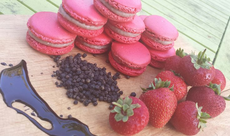 Strawberry, Balsamic and black peppercorn Macaron.