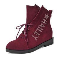 2015 новый бренд ботинки женщин осень натуральная кожа женские полусапожки обувь на каблуках клинья высота увеличение коренастый сапоги D182_7