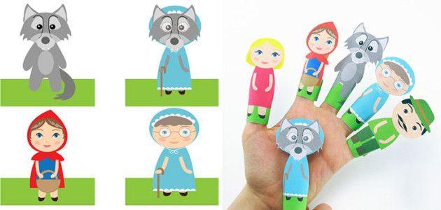 Marionetas de dedos: personajes del cuento Caperucita Roja y el Lobo Feroz (con…