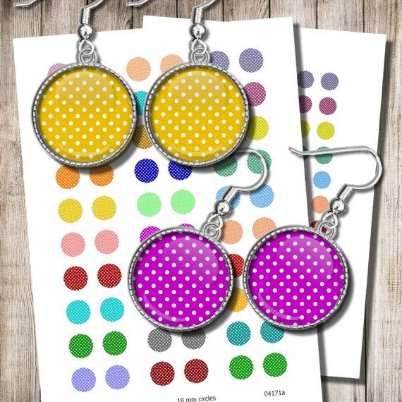 Polka Dots Printable Jewelry Paper 12 mm 15 mm 18 mm