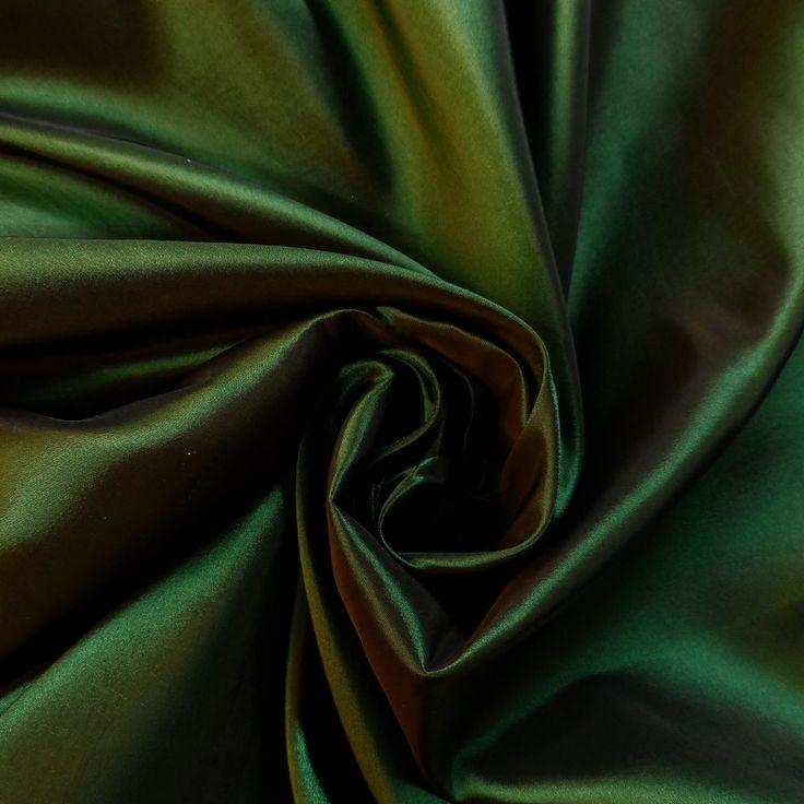 BOTTLE GREEN AND BLACK TWO TONE TAFFETA PROM/CURTAIN/ WEDDING BRIDAL FABRIC