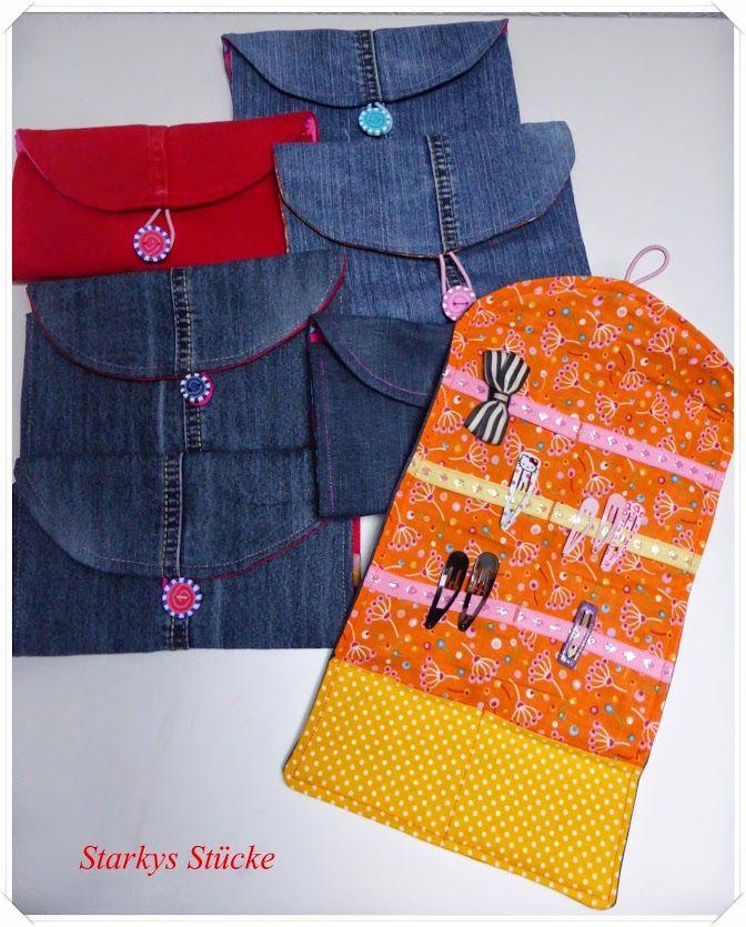 haarutensilos aus alter jeans hair accessory organizer. Black Bedroom Furniture Sets. Home Design Ideas