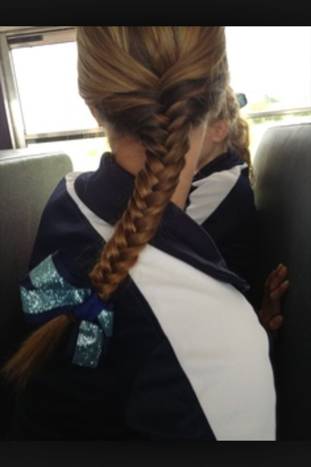 Volleyball hair. Cute and pretty easy too! we need bows this year