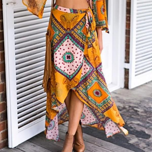 * Boho style<br /> * Material: 70% Cotton, 30% Others<br /> * Machine wash, tumble dry<br /> * Imported<br /> <br /> Boho style pep up this elegant skirt that brings breezy summer time for women.