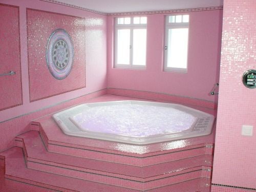 bathroom pink decor walls steps to big bubble bath waiting for you - luxury home