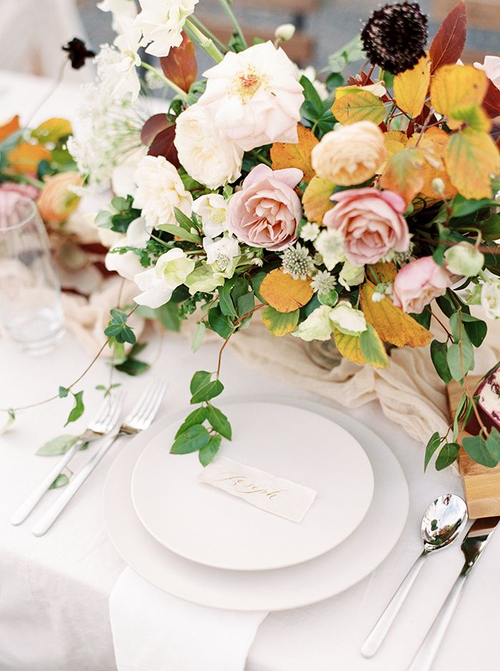 Fall Leaves and Flowers for a Rustic Autumn Wedding Centerpiece