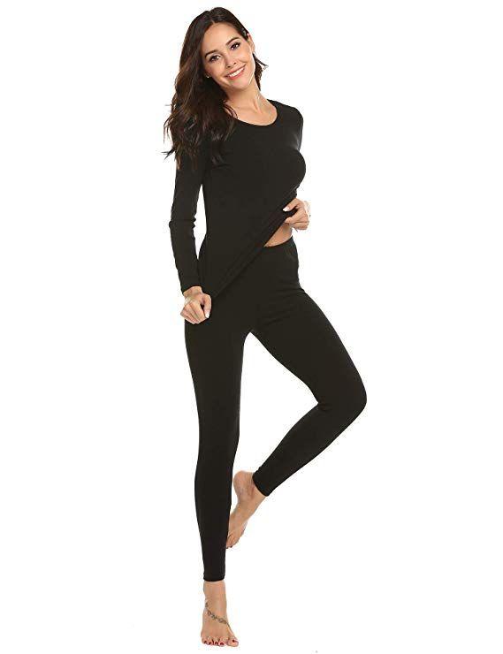 60796b30bc75 Ekouaer Women's Long Thermal Underwear Fleece Lined Winter Base Layering Set  - Blogging ERA