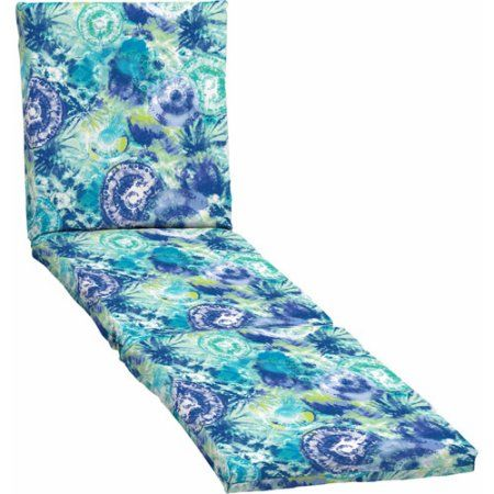 Mainstays Outdoor Chaise Cushion, Blue Tie Dye