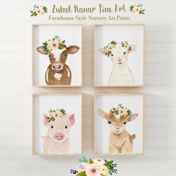 Bauernhof Kinderzimmer Dekor Bauernhof Kinderzimmer druckt Farm Animal druckt Kuh Malerei Kinderzimmer Animal print Farm Baby Dusche Dekor Kinderzimmer Wandkunst Dekor