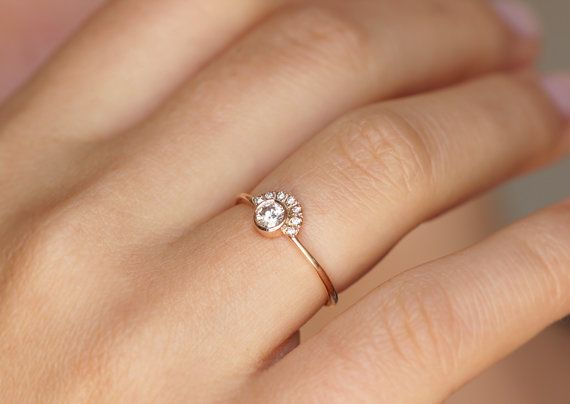SIZE 5.25 Diamond Engagement Ring with Pave Diamonds by artemer