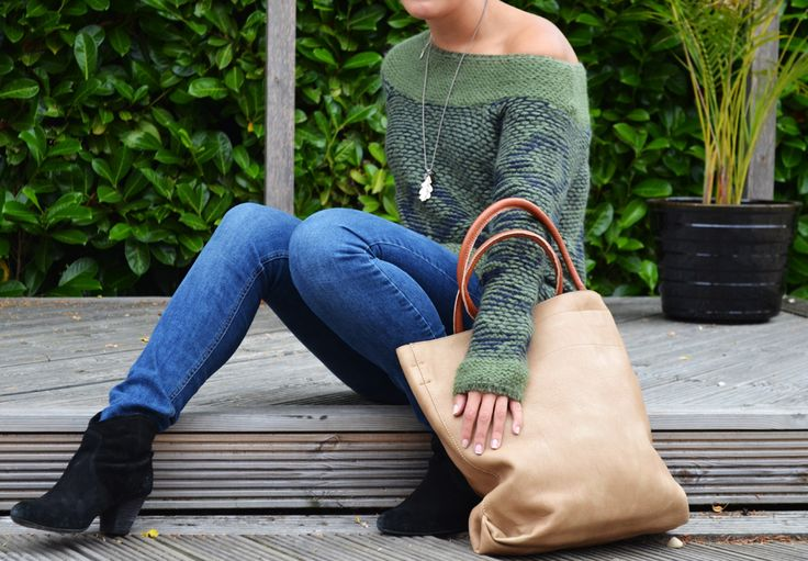 Hult Quist necklace - £48.50. Real leather bag-within-a-bag - £45. ottod'Ame jumper - £159.