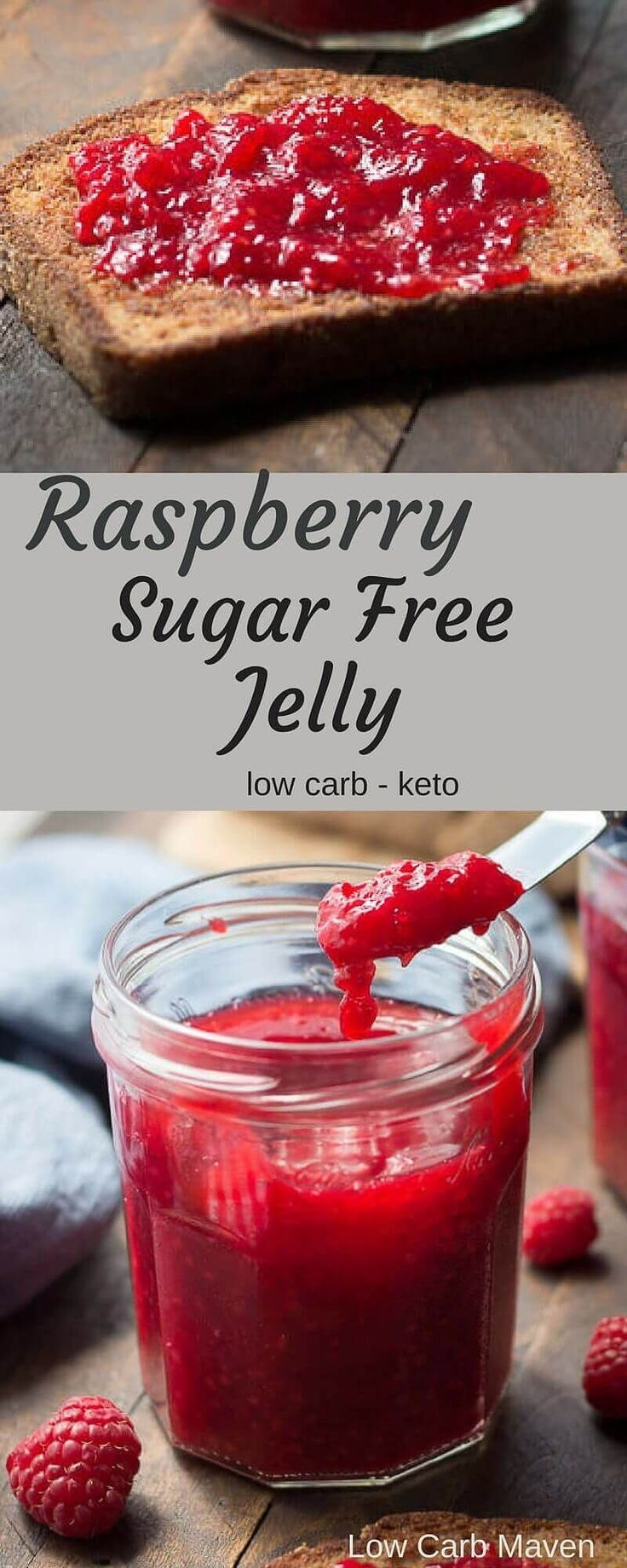 Raspberry Sugar Free Jelly (sugar free jam) is perfect for low carb and keto breads