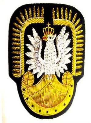 POLAND AVIATION OFFICER HAT CAP BADGE NEW HAND EMBROIDERED CP MADE FREE SHIP USA