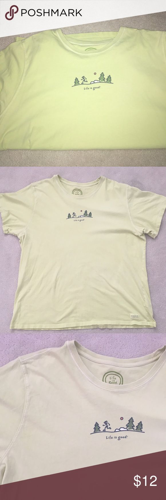 Life is Good Lime Green Running Shirt Life is good lime green shirt, running graphic, holes on the front SEE picture, short sleeve, women's size XXL, armpit to armpit 24 inches length about 27 1/2 inches Life is Good Tops Tees - Short Sleeve