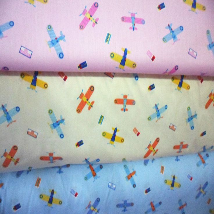 Pretty 50x160cm Blue Pink Yellow Colorful Cartoon Planes Printed Cotton Fabric For Clothing Dress Bedding Quilting  #Affiliate