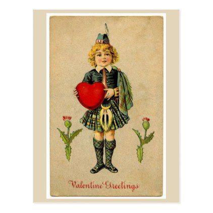 Vintage Scottish Boy in Kilt Valentines Postcard - boy gifts gift ideas diy unique
