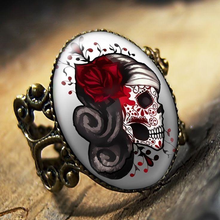 Day of the Dead Muertos Tattoo Skull Punk Adjustable Antique Bronze Ring 438-AR