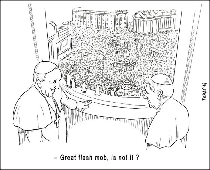 CONCEPT: culture, time, society, power, technologies, authority, identity, globalisation.  A cartoon depicting the Catholic Church Modernisation.