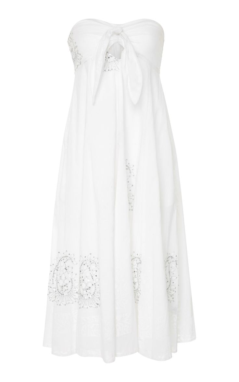 JULIET DUNN PAISLEY STRAPLESS TIE-FRONT COTTON DRESS. #julietdunn #cloth #