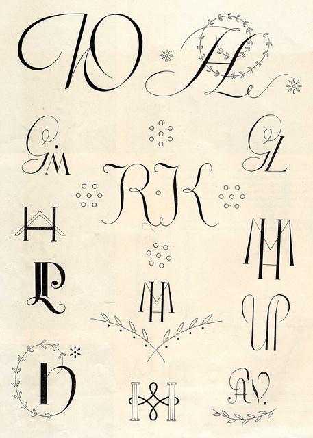 Vintage embroidery monograms