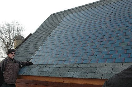 """""""Solar shingles - They blend right in with your traditional shingles and don't require any special tools for installation.""""...some day!"""