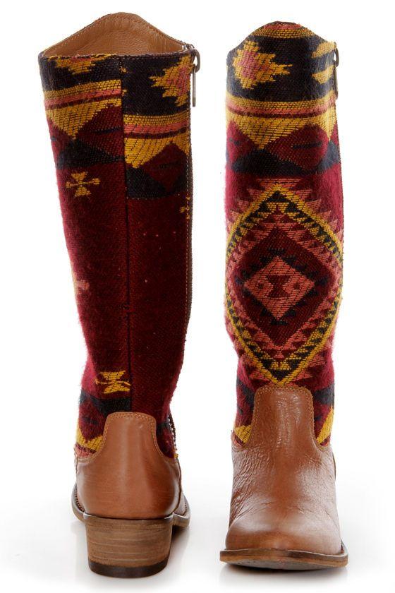 Steve Madden Graced Aztec Multi Southwest Print Cowboy Boots - $189.00