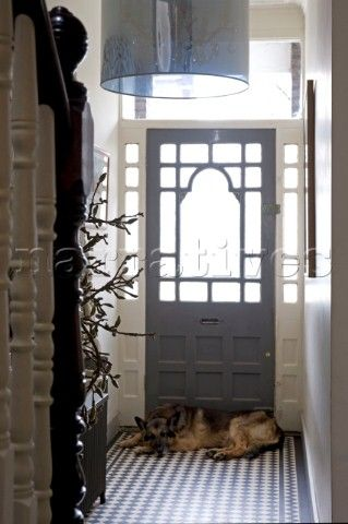 Entrance hall and front door of a Victorian house with a dog lying by the door
