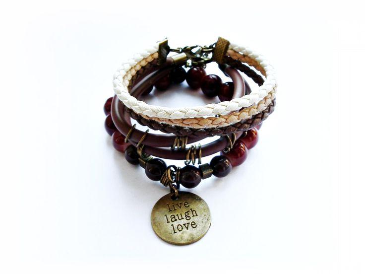 Set of 3 bracelets, Brown bracelets, Beads bracelets, Rubber brown bracelet, Mega Jewelry Bundle, Gift Ideals by MadeByJoLis on Etsy