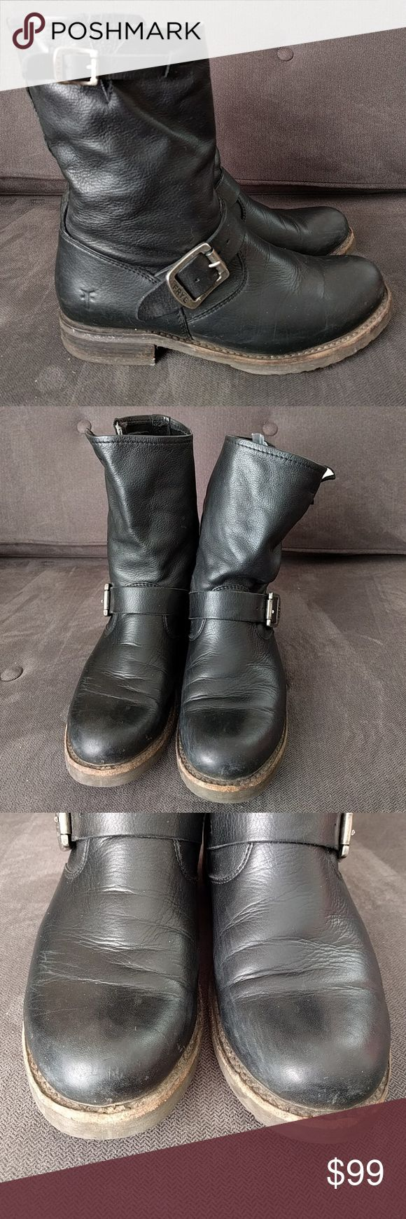Frye Veronica black leather slouchy boots sz 6.5
