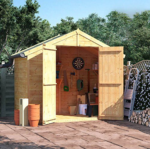 4x8 Tongue and Groove Wooden Shed Windowless Double Door Apex Roof & Felt Garden Sheds 4FT 8FT---329---