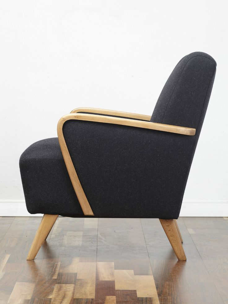 #Cocktail_Chair #Vintage_Armchair #Retro_chair #50s #60s #70s #Midcentury  A beautiful 60s armchair. Lovely design with tapered and splayed legs. Reupholstered in a dark grey wool. www.viremo.co.uk