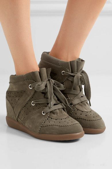 57c99fcd5999 Isabel Marant Étoile Bobby Suede Wedge Sneakers - Army green ...