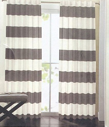 Hillcrest Wide Stripes Curtains 2 Panels 52 X 96  Grey Striped Curtains