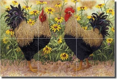 "Peck and Wadsworth by Marcia Matcham - Roosters Ceramic Tile Mural 18"" x 12"" Kitchen Shower Backsplash by Artwork On Tile, http://www.amazon.com/dp/B008TSQAYU/ref=cm_sw_r_pi_dp_IfKurb0J9A1PK"