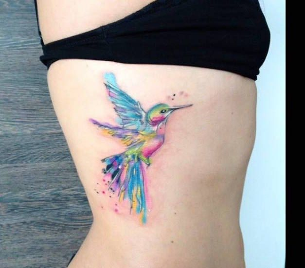 Watercolor Hummingbird Tattoo by Simona Blanar