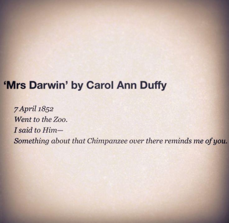 Mrs Darwin by Carol Ann Duffy